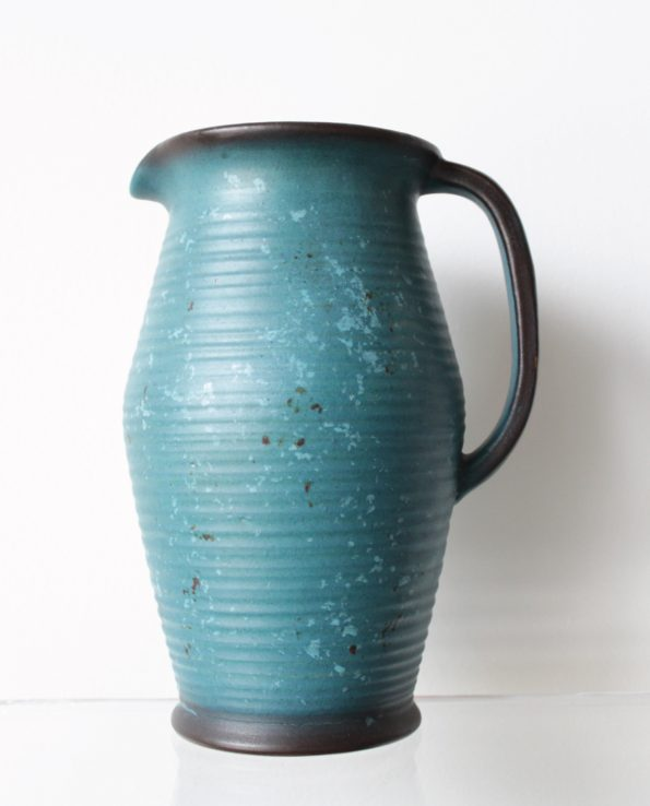 Danish Pottery Water Jug in Turquoise and Black