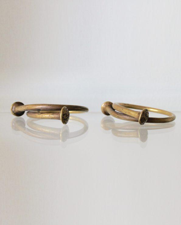 Antique Angami bracelet, brass (pair)